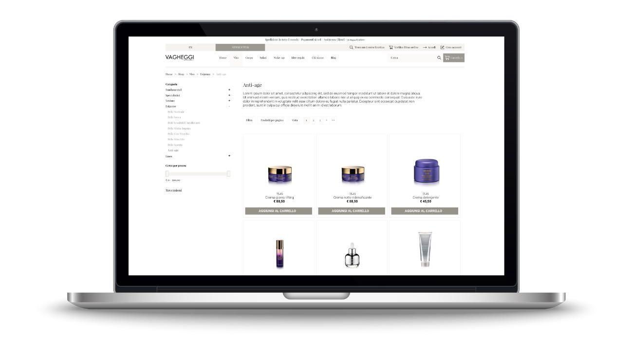Listing prodotti sito e-commerce Vagheggi